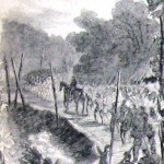 """New York militiamen file through Thornton's Pass, in the """"South Mountains,"""" on their way back north (Alfred R. Waud, artist; Harper's Weekly, August 15, 1863; NPS History Collection)"""
