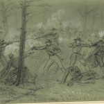 """""""Skirmish between the Brooklyn 14th and 300 Rebel Cavalry during the Battle of Antietam,"""" sketched by Alfred R. Waud on September 17, 1862. The 14th Brooklyn Infantry (also known as the 84th New York Infantry) fought in The Cornfield during the Battle of Antietam, but there is no reference to the unit fighting Confederate cavalry (Library of Congress)"""