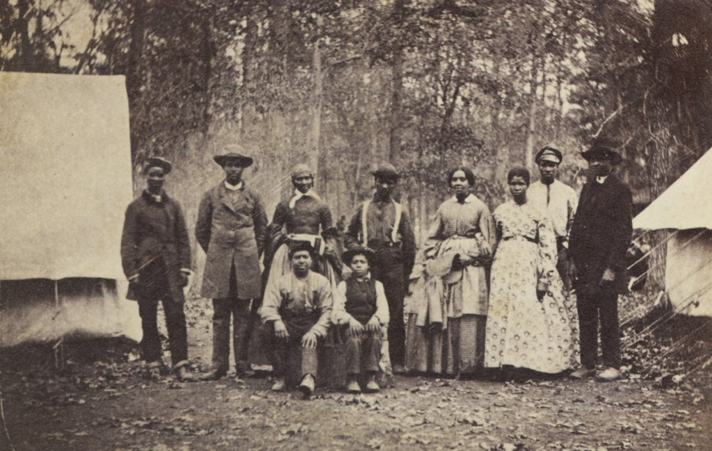 A group of African Americans who found safety in the camp of the 13th Massachusetts Regiment near Williamsport, MD  (U.S. Army Military History Institute)