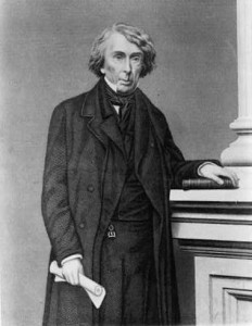 Roger Brooke Taney (right), Chief Justice of the United States Supreme Court and a former resident of Frederick, MD, wrote the majority opinion in the Dred Scott case in 1857.  (Library of Congress)