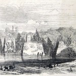 The Baltimore and Ohio Railroad bridge at Monocacy Junction after it was destroyed by Confederates in September 1862 (Frank Leslie's Illustrated Newspaper, October 4, 1862; courtesy of Princeton University Library)