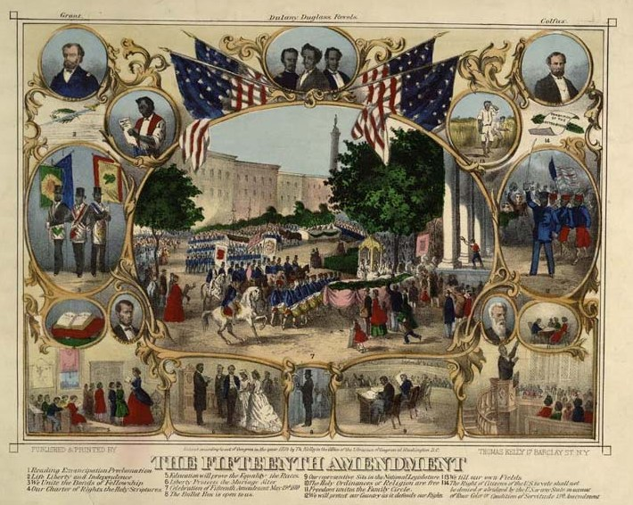 A lithograph depicting a parade in Baltimore on May 19, 1870, celebrating the passage of the 15th Amendment, granting African Americans the right to vote (Library of Congress)