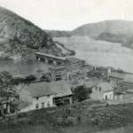 An 1859 photograph of lower Harpers Ferry and the Baltimore and Ohio Railroad bridge (1859, Historic Photo Collection, Harpers Ferry National Historical Park)