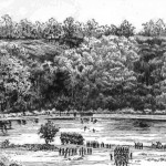 Union Colonel Edward Baker's command crossing from Harrison's Island to Ball's Bluff, October 21, 1861 (John D. Baltz, Hon. Edward D. Baker - Colonel E.D. Baker's Defense in the Battle of Ball's Bluff...[Lancaster, PA: Inquirer Printing Co., 1888], before p.157)