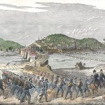 Union soldiers march along the banks of the Potomac while the armys supply wagons cross over the pontoon bridge ahead of the troops into Harpers Ferry (Colorized version of an illustration in The New-York Illustrated News, July 4, 1863; Harpers Ferry National Historical Park)