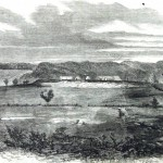 A Confederate encampment behind earthworks near Leesburg, VA (Harper's Weekly, October 12, 1861; NPS History Collection)