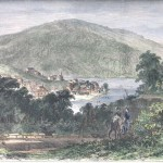 Harpers Ferry from the vantage point of Loudoun Heights (Frank H. Schell, artist; Frank Leslies Illustrated Newspaper, September 19, 1863; Harpers Ferry National Historical Park)