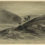 Titled Harpers Ferry by Moonlight, this image from December 1863 by Alfred Waud shows soldiers tents on Bolivar Heights, with Maryland Heights in the background (December 1863, Alfred R. Waud, artist; Library of Congress)