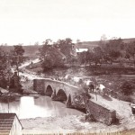 Foot and wagon traffic stream across the Middle Bridge at Antietam (September 1862, Alexander Gardner, photographer; Library of Congress)