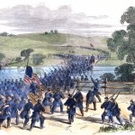 Union General Joseph Hooker's corps crossing Antietam Creek to attack the Confederates on the morning of September 17 (Frank Schell, artist; Antietam National Battlefield; an uncolorized version appeared in Frank Leslie's Illustrated Newspaper, October 11, 1862)
