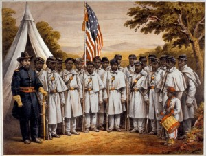 African American soldiers at Camp William Penn near Philadelphia, 1864 (P.S. Duval & Son, artist; Library Company of Philadelphia)