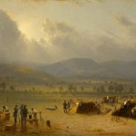 """""""Camp of the Seventh Regiment near Frederick, Maryland, 1863,"""" painted by Sanford R. Gifford in 1864, and showing the 7th Regiment of the New York State Militia encamped between Frederick and Jefferson. Gifford was a member of the 7th Regiment. (Courtesy of the New York State Military Museum)"""