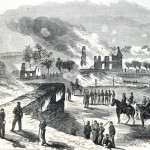 For farmer Samuel Mumma the tragedy of the Battle of Antietam was compounded by the loss of his house and barn, which were set ablaze during the course of the fighting (Harpers Weekly, October 11, 1862; NPS History Collection)