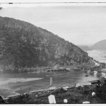 A view of the Chesapeake and Ohio Canal and the Harpers Ferry railroad bridge in early 1865 (Library of Congress)