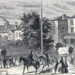 Departure of Union troops from Chambersburg on June 7, 1861, on their way to Maryland (Harper's Weekly, June 29, 1861; NPS History Collection)