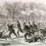 """Soldiers from the 15th Massachusetts Regiment charge the Confederate line at the Battle of Ball's Bluff (The Illustrated London Newspaper, November 23, 1861; courtesy of """"The Civil War in America from the Illustrated London News"""": A Joint Project by Sandra J. Still, Emily E. Katt, Collection Management, and the Beck Center of Emory University)"""