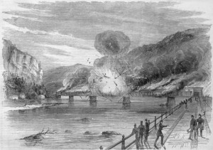 Before Confederate troops evacuated Harpers Ferry on June 14, 1861, they destroyed the railroad bridge spanning the Potomac River (Harper's Weekly, July 6, 1861; Library of Congress)