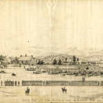 """John Avery, Jr., a soldier with the 7th Regiment, New York State Militia, titled this sketch """"Seventh Regt., N.Y. State Militia in Camp at Frederick, MD., July 1863,"""" which resembles much the same scene as the previous painting by Sanford Gifford. Avery sent his sketch to Frank Leslie, publisher of Frank Leslies Illustrated News, telling Leslie he could use the sketch if he so desired. (July 1863, John Avery, Jr., artist; courtesy of the Becker Collection, Boston, MA)"""