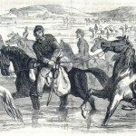 The raiding Confederates took stolen horses and other plunder back with them (F.H. Schell, artist; Frank Leslie's Illustrated News, November 1, 1862; courtesy of Princeton University Library)