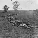Bodies of Confederate dead arrayed for the camera (September 1862, Alexander Gardner, photographer; Library of Congress)