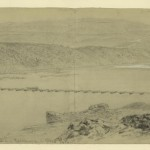 A wagon crosses over a pontoon bridge west of Harpers Ferry, with Maryland Heights in the background (Alfred R. Waud, artist; Library of Congress)