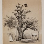 A large tree has been converted into a Union signal station near the Potomac River by virtue of attaching a few wooden platforms and ladders (Cpl. Henry Bacon, artist; courtesy of the American Antiquarian Society)