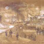 Sharpsburg resident Samuel Mumma's house and barns burning after they were torched by Confederate soldiers so that the buildings could not be used by Federal sharpshooters (Alfred Waud, artist, September 17, 1862; Library of Congress)
