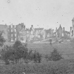 The burnt-out shells of several buildings in Emmitsburg (July 1863, Timothy H. O'Sullivan, photographer; Library of Congress)