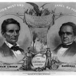 Campaign banner for the Republican ticket featuring Abraham Lincoln and Hannibal Hamlin, emblazoned with the slogan Free Speech, Free Homes, Free Territory (1860, W.H. Rease; Library of Congress)