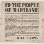 "Confederate Colonel Bradley T. Johnson's message ""To the People of Maryland,""  September 8, 1862  (Perkins Library, Duke University)"