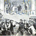 """Following the Kansas-Nebraska Act of 1854, Kansas became a battleground between pro-slavery and anti-slavery forces; a """"Peace Convention"""" at Fort Scott, Kansas in 1858 was anything but peaceful (from Albert D. Richardson, Beyond the Mississippi: From the Great River to the Great Ocean [1869], following p.128)"""