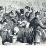 As Union soldiers marched through Frederick in 1862 in pursuit of the Confederate army, they received water, food, and a warm welcome from the ladies of the town (F.H. Schell, artist; Frank Leslie's Illustrated News, November 1, 1862; courtesy of Princeton University Library)