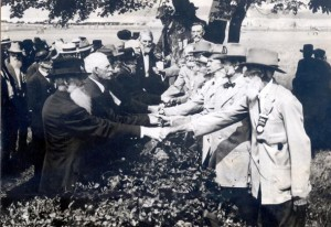 Pennsylvania and Virginia veterans shake hands at the Gettysburg reunion of 1913  (Fiftieth Anniversary of the Battle of Gettysburg, 1915)