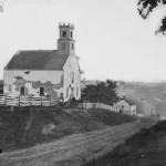 The heavily-damaged Lutheran Church in Sharpsburg after the Battle of Antietam (Sept. 1862, Alexander Gardner, photographer; Library of Congress)