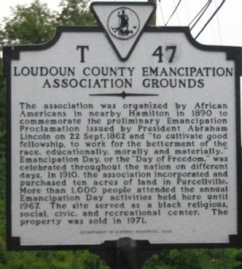 Historical Marker commemorating the Loudoun County Emancipation Association Grounds, Purcellville  (Historical Marker Database, http://www.hmdb.org/marker.asp?marker=1793)