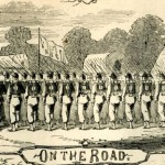 Union soldiers marching from Camp Meredith near Greencastle, PA, into Maryland (Harper's Weekly, July 6, 1861; NPS History Collection)