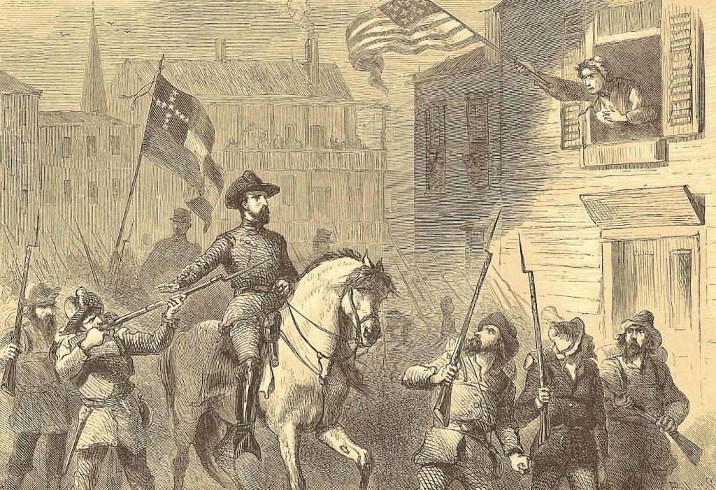 Barbara Fritchie defiantly waves her American flag above Confederate soldiers in Frederick, MD (Courtesy of Chris Haugh)