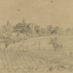 The seminary is near where General Reynolds' and General Longstreet's forces battled on the first day (July 1, 1863, Alfred R. Waud, artist; Library of Congress)