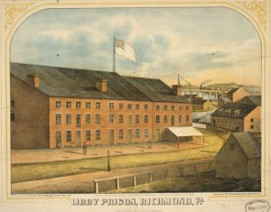 """Libby Prison, Richmond, Va.""  E. Sachse & Co., c.1865  (Library of Congress)"
