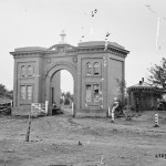 Damage to the gatehouse of the Evergreen Cemetery in Gettysburg (July 1863; Library of Congress)