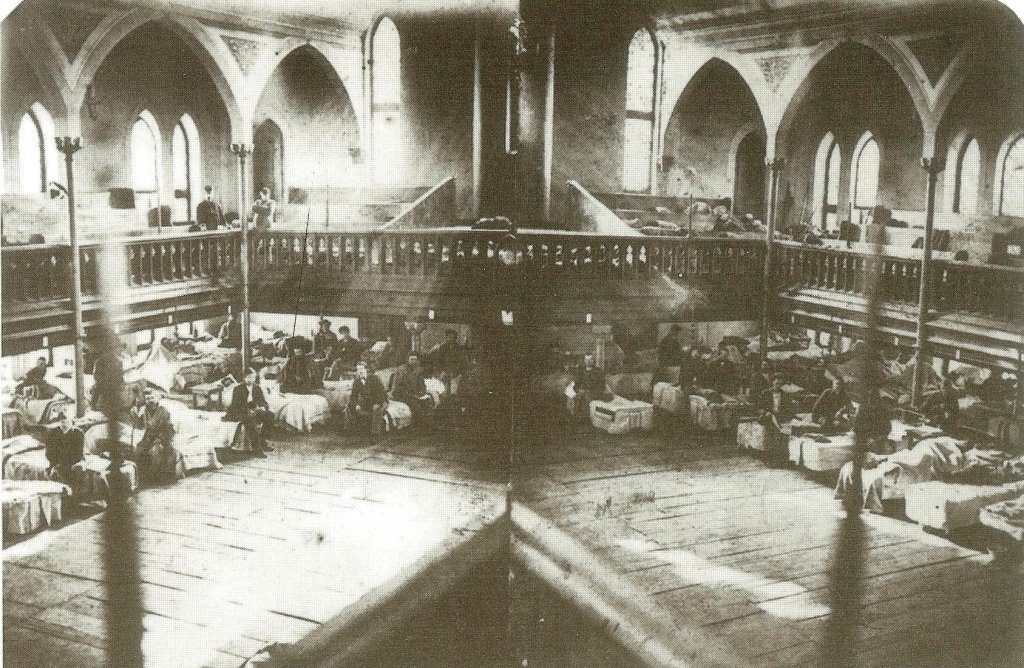 Wounded soldiers being cared for in the Evangelical Lutheran Church in Frederick  (Chris Haugh)