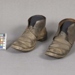 Pair of black leather Civil War shoes found at Gettysburg (Gettysburg National Military Park)