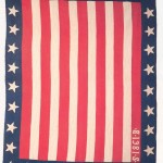 The maker of this Union flag quilt is not known, but the quilt is believed to have come from Washington County. Created in 1861, during the first year of the Civil War, it is adorned with thirty-four stars. (Image from Gloria Seaman Allen and Nancy Gibson Tuckhorn, A Maryland Album Quiltmaking Traditions, 1634-1934 [1995])