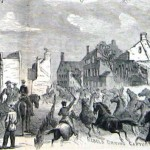 Confederate cavalry drive captured horses through the streets of Emmitsburg, Maryland after the Battle of Gettysburg. A fire (presumably accidental) had raged through Emmitsburg on June 15, destroying much of the town. (Alfred R. Waud, artist; Harpers Weekly, August 15, 1863; NPS History Collection)