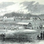 Encampment of Union cavalry scouts near Hancock, Maryland, where they have performed picket duty along the river crossings in addition to minor skirmishing against Confederate troops (W.W. Charles, artist; Harper's Weekly, February 1, 1862; NPS Historical Collection)