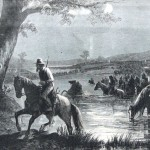Southern soldiers crossing the Potomac River into Maryland on September 4, 1862 (Harpers Weekly, September 27, 1862; NPS History Collection)