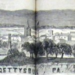 Gettysburg, Pennsylvania as it appeared from Cemetery Hill, where the dedication ceremony for the National Cemetery took place on November 19, 1863 (Joseph Becker, artist; Frank Leslie's Illustrated Newspaper, December 5, 1863; courtesy of Princeton University Library)