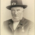 Joseph Groff, of Frederick, MD, wearing the Grand Army of the Republic (GAR) insignia. Groff had been a member of the 1st Potomac Home Brigade in the war, and later was a member and officer of the John Y. Reynolds Post, GAR, in Frederick. (Alice L. Luckhardt)