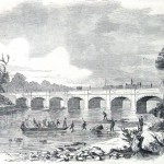 Union soldiers from General Nathaniel Banks' army cross the Monocacy River on and around the Monocacy Aqueduct in August 1861 (Harper's Weekly, September 14, 1861; NPS History Collection)
