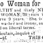 An advertisement in The American Sentinel of Westminster, MD, in 1860 of an enslaved African American woman for sale (The American Sentinel, July 27, 1860)